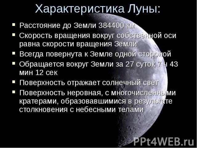 Расстояние до Земли 384400 км Расстояние до Земли 384400 км Скорость вращения вокруг собственной оси равна скорости вращения Земли Всегда повернута к Земле одной стороной Обращается вокруг Земли за 27 суток 7 ч 43 мин 12 сек Поверхность отражает сол…