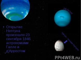 Открытие Нептуна произошло 23 сентября 1846 астрономами Галле и д'Аррестом Откры