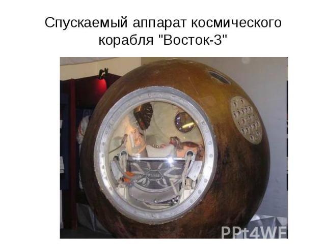 """Спускаемый аппарат космического корабля """"Восток-3"""""""