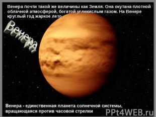 Венера почти такой же величины как Земля. Она окутана плотной облачной атмосферо