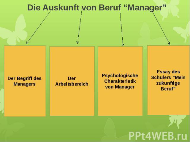"""Die Auskunft von Beruf """"Manager"""" Der Arbeitsbereich"""