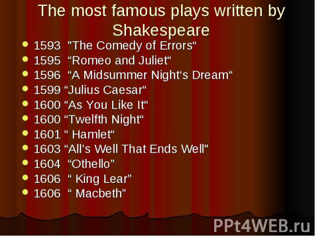 "The most famous plays written by Shakespeare 1593 ""The Comedy of Errors"" 1595 ""Romeo and Juliet"" 1596 ""A Midsummer Night's Dream"" 1599 ""Julius Caesar"" 1600 ""As You Like It"" 1600 ""Twelfth Night"" 1601 "" Hamlet"" 1603 ""All's Well That Ends Well&quo…"