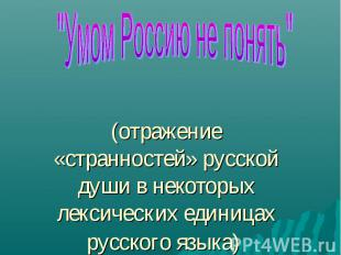(отражение «странностей» русской души в некоторых лексических единицах русского