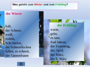 Was gehört zum Winter und zum Frühling?