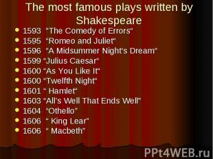 """The most famous plays written by Shakespeare 1593 """"The Comedy of Errors"""" 15"""