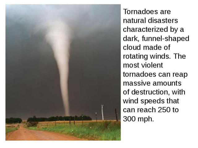 Tornadoes are natural disasters characterized by a dark, funnel-shaped cloud made of rotating winds. The most violent tornadoes can reap massive amounts of destruction, with wind speeds that can reach 250 to 300 mph.