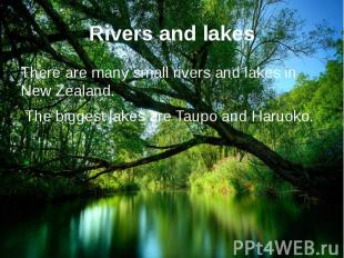 Rivers and lakes There are many small rivers and lakes in New Zealand. The bigge