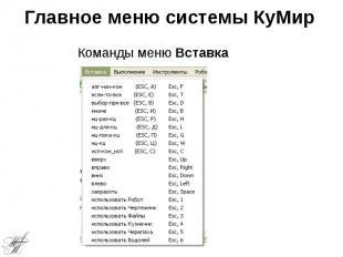 Главное меню системы КуМир
