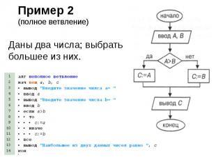 Пример 2 (полное ветвление) Даны два числа; выбрать большее из них.