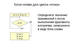 Блок-схема для цикла «пока»