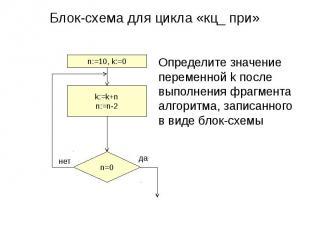 Блок-схема для цикла «кц_ при»