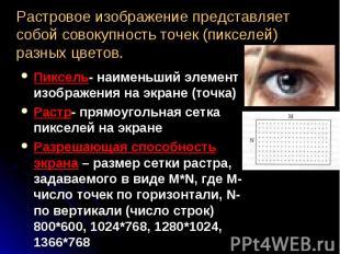 Пиксель- наименьший элемент изображения на экране (точка) Пиксель- наименьший эл