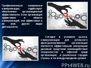 Сегодня в условиях рынка, коммуникации для успешного функционирования организаци