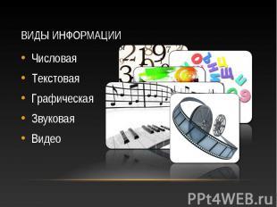 Числовая Числовая Текстовая Графическая Звуковая Видео