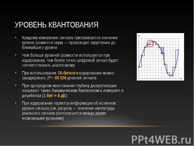 Каждому измерению сигнала присваивается значение уровня громкости звука — происходит округление до ближайшего уровня Каждому измерению сигнала присваивается значение уровня громкости звука — происходит округление до ближайшего уровня Чем больше уров…