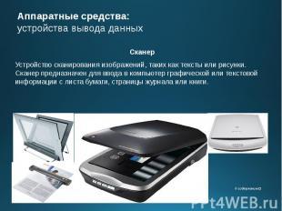 Аппаратные средства: устройства вывода данных Сканер Устройство сканирования изо