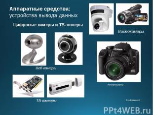 Аппаратные средства: устройства вывода данных Цифровые камеры и ТВ-тюнеры