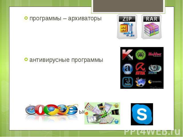 программы – архиваторы программы – архиваторы антивирусные программы коммуникационные программы