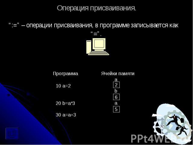 """Операция присваивания. """":="""" – операции присваивания, в программе записывается как """"=""""."""