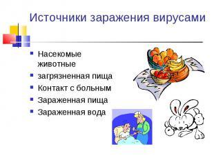Насекомые животные Насекомые животные загрязненная пища Контакт с больным Зараже