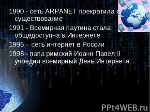1990 - сеть ARPANET прекратила своё существование 1990 - сеть ARPANET прекратила