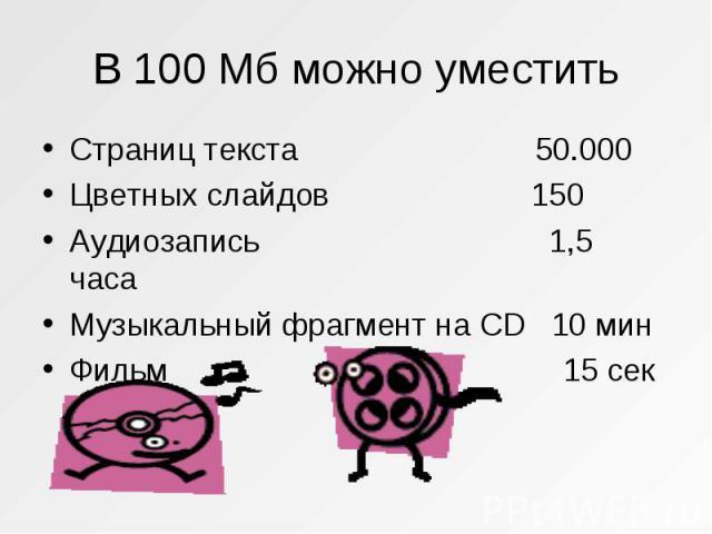 Страниц текста 50.000 Страниц текста 50.000 Цветных слайдов 150 Аудиозапись 1,5 часа Музыкальный фрагмент на CD 10 мин Фильм 15 сек