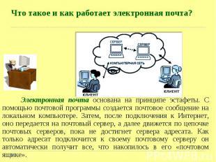 Электронная почта основана на принципе эстафеты. С помощью почтовой программы со