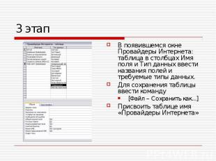 В появившемся окне Провайдеры Интернета: таблица в столбцах Имя поля и Тип данны