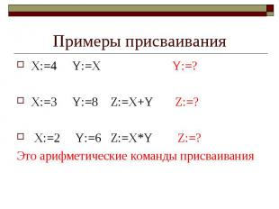 Примеры присваивания X:=4 Y:=X Y:=? X:=3 Y:=8 Z:=X+Y Z:=? X:=2 Y:=6 Z:=X*Y Z:=?