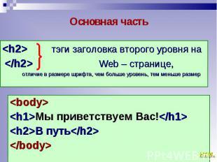 <body> <body> <h1>Мы приветствуем Вас!</h1> <h2>В