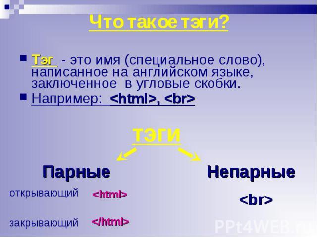 Тэг - это имя (специальное слово), написанное на английском языке, заключенное в угловые скобки. Тэг - это имя (специальное слово), написанное на английском языке, заключенное в угловые скобки. Например: <html>, <br>