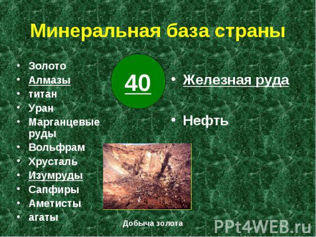 Минеральная база страны Железная руда Нефть