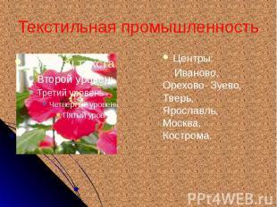 Текстильная промышленность Центры: Иваново, Орехово- Зуево, Тверь, Ярославль, Мо