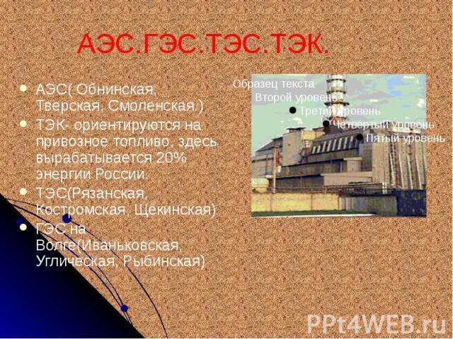 АЭС.ГЭС.ТЭС.ТЭК. АЭС( Обнинская, Тверская, Смоленская.) ТЭК- ориентируются на привозное топливо, здесь вырабатывается 20% энергии России. ТЭС(Рязанская, Костромская, Щёкинская) ГЭС на Волге(Иваньковская, Углическая, Рыбинская)