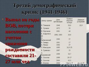 Выпал на годы ВОВ, потери населения с учетом снижения рождаемости составили 21-2