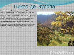 Пикос-де-Эуропа Национальный парк Пикос-де-Эуропа включает 77,2 кв.км. суровых г