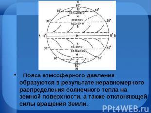 Пояса атмосферного давления образуются врезультате неравномерн