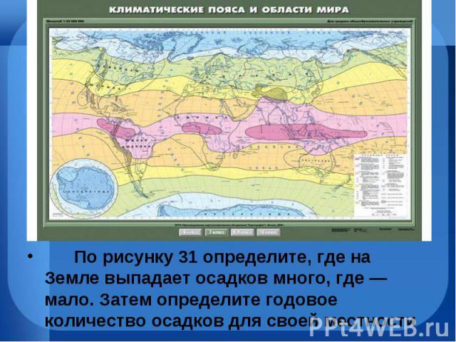 По рисунку31 определите, где на Земле выпадает осадков много, где— мало. Затем определите годовое количество осадков для своей местности По рисунку31 определит…