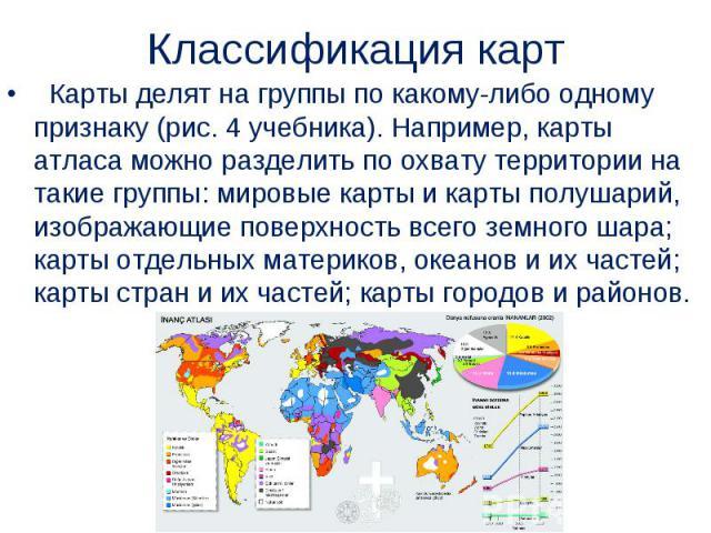 Карты делят на группы по какому-либо одному признаку (рис.4 учебника). Например, карты атласа можно разделить по охвату территории на такие группы: мировые карты и карты полушарий, изображающие поверхность всего земного шара; карты отде…