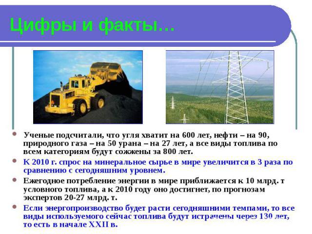 Цифры и факты… Ученые подсчитали, что угля хватит на 600 лет, нефти – на 90, природного газа – на 50 урана – на 27 лет, а все виды топлива по всем категориям будут сожжены за 800 лет. К 2010 г. спрос на минеральное сырье в мире увеличится в 3 раза п…