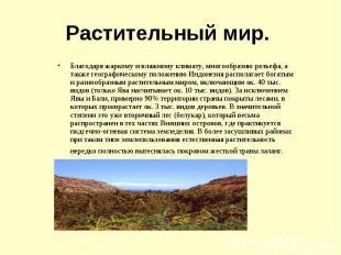 Благодаря жаркому и влажному климату, многообразию рельефа, а также географическ