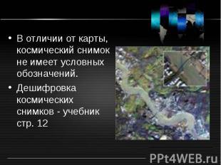 В отличии от карты, космический снимок не имеет условных обозначений. В отличии