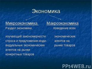 Экономика Микроэкономика Макроэкономика Раздел экономики, поведение всех изучающ