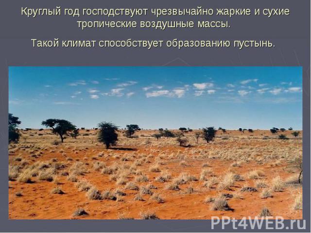 Круглый год господствуют чрезвычайно жаркие и сухие тропические воздушные массы. Такой климат способствует образованию пустынь.