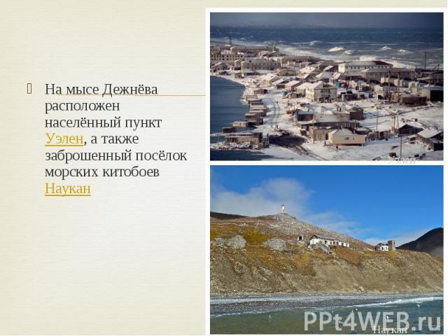 На мысе Дежнёва расположен населённый пункт Уэлен, а также заброшенный посёлок морских китобоев Наукан