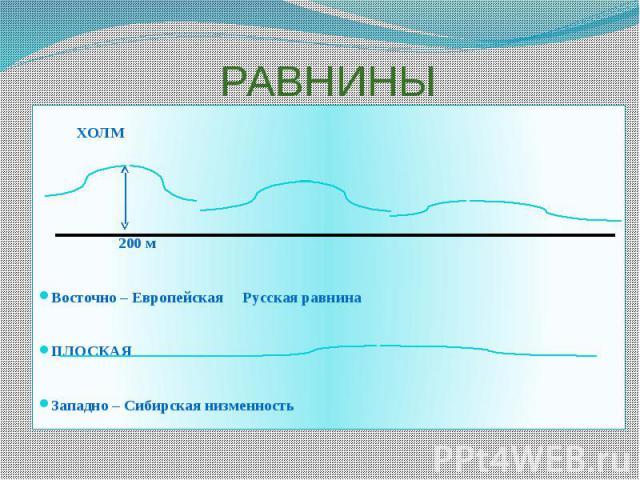РАВНИНЫ ХОЛМ 200 м Восточно – Европейская Русская равнина ПЛОСКАЯ Западно – Сибирская низменность