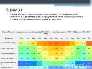 Климат Климат Москвы—умеренно-континентальный, с чётко выраженной се