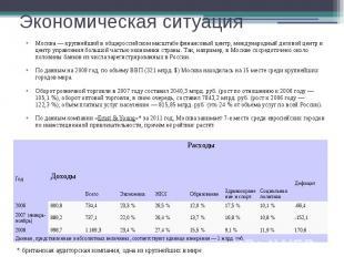 Экономическая ситуация Москва— крупнейший в общероссийском масштабе финанс