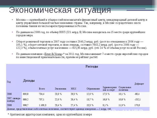 Экономическая ситуация Москва— крупнейший в общероссийском масштабе финансовый центр, международный деловой центр и центр управления большой частью экономики страны. Так, например, в Москве сосредоточено около половины банков из числа зарегист…