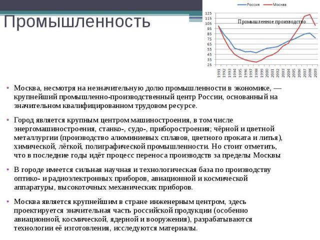 Промышленность Москва, несмотря на незначительную долю промышленности в экономике,— крупнейший промышленно-производственный центр России, основанный на значительном квалифицированном трудовом ресурсе. Город является крупным центром машинострое…
